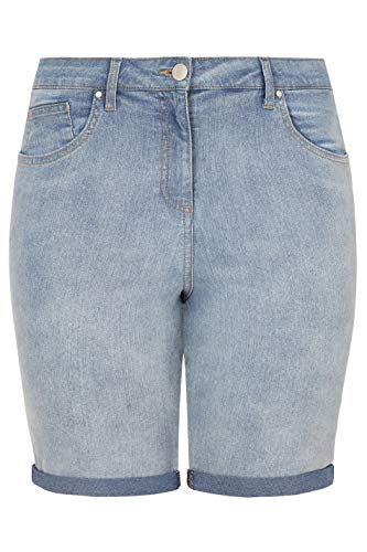 Yours Clothing Women's Limited Collection Light Bleached Denim Shorts