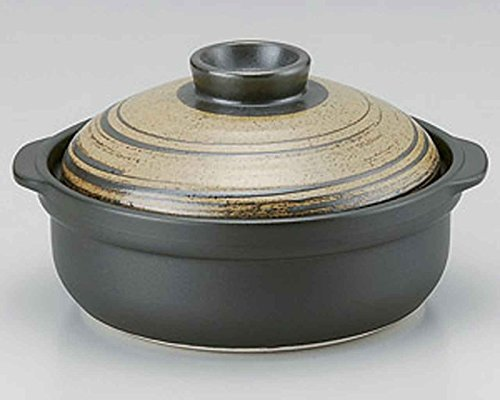 Kuchiha for 4-5 persons 11.7inch Donabe Japanese Hot pot Black Ceramic Made in Japan by Watou.asia