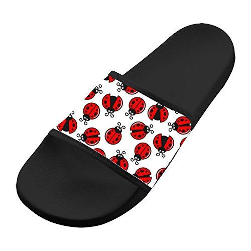 Cartoon Ladybug Unisex Adullt House Comfort Sandal Slippers Bathroom Flats Flip Flops Open toed Slide Shoes for Womens Mens