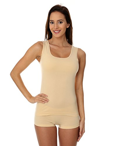 BRUBECK® TA00510A COMFORT COTTON Tapa del Tanque de las Mujeres | Chaleco | Camia sin Mangas | Air Jet Tela | Hombros Desnudos | Funcional beige