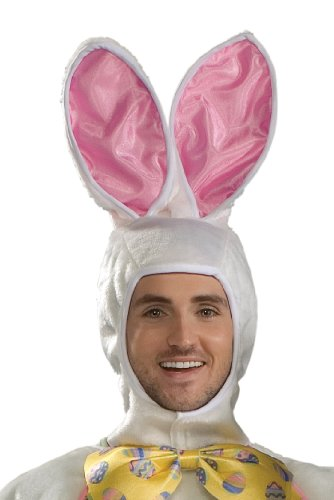 Adult White Easter Bunny Costume With Mascot Head and Yellow Vest