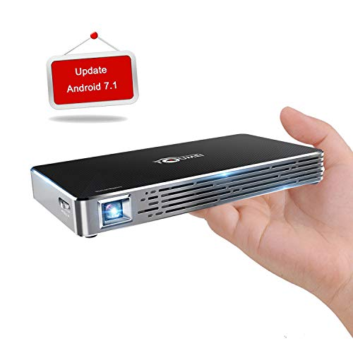 """TOUMEI Mini Video Projector Android 7.1 HD 1080P 120"""" Home Theater Support Wired and Wireless Airplay Miracast with Remote and Tripod"""