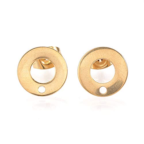 ARRICRAFT 10 Sets Metal Ear Stud Components with Earnuts Ring/Circle Earring Setting for Earring Making