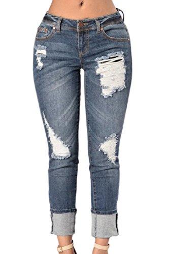 Zonsaoja Femmes En Coton Stretch Jeans Dtendu Jeans Darkblue