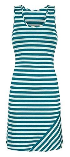 Women's Dress Green Cromoncent Crewneck Striped Sleeveless Bodycon Comfortable Sundress 4q08qdw