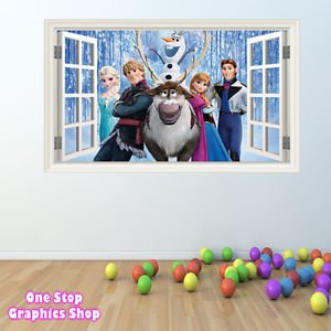 1Stop Graphics Shop Disney Frozen Wall Sticker Full Colour Boys Girls  Personalised Window C244