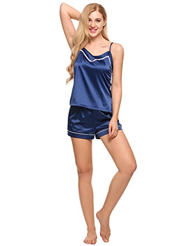 Ekouaer Womens Satin Pajama Set Sexy Lingerie Classic Piping Cami Set Sleepwear (95-Dark Blue, (Blue Satin Camisole)