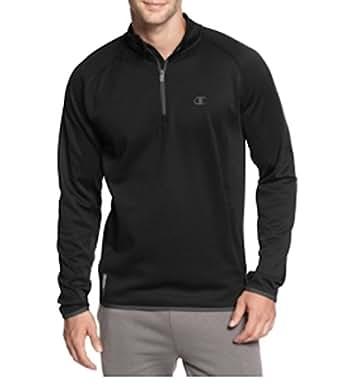 Champion Men's Duofold Quarter-Zip Fleece Jacket Black (Medium)
