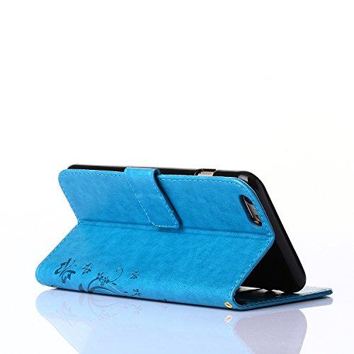 ZeWoo Folio Ledertasche - R149 / Schmetterling und Blume (blau) - für Apple iPhone 6 (4,7 Zoll) PU Leder Tasche Brieftasche Case Cover