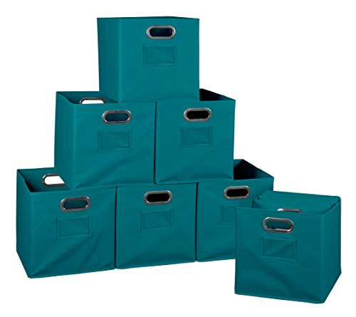 Niche Set of 12 Cubo Foldable Fabric Bins- Teal (Set Folding Storage Bins)