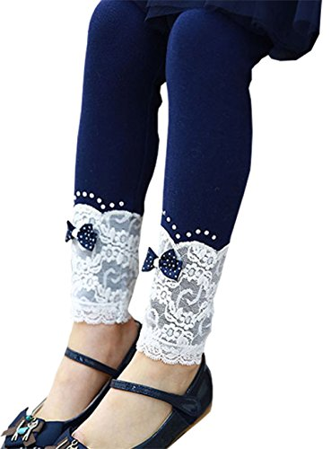 Romapig Winter Kids Girls Lace Flowers 2-6 Years Legging Pant (7, Navy Blue)