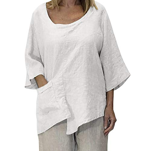 JustWin Summer Women Plus Size O-Neck Pure Color Pocket Irregularity Half Sleeve Loose Plus Size Casual T-Shirt White