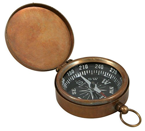 Historical Emporium Antique Brass Pocket Compass with Hinged Lid