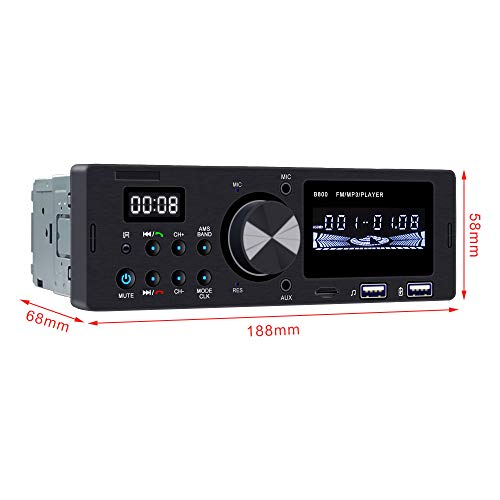 Ironpeas Car Stereo Receiver with Bluetooth, Single Din Univeral Car Radio,USB TF Slot FM WMA MP3 Player,Wireless Remote Control Included