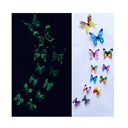 NDJqer 12Pcs Luminous Decal Art Wall Stickers Room Magnetic Home Decor DIY Stickers Wallpaper Decoration,Multi (Ebay Mirror With Cabinets Bathroom)