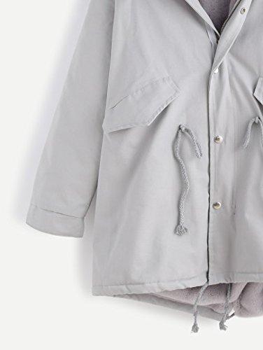 SheIn - Abrigo - Parka - Manga Larga - para hombre gris Talla única : Amazon.es: Ropa y accesorios