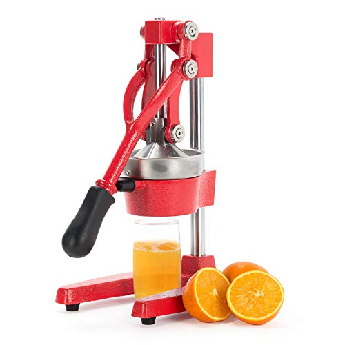 CO-Z Commercial Grade Citrus Juicer Hand Press Manual Fruit Juicer Juice Squeezer Citrus Orange Lemon Pomegranate (Red) (Countertop Lemon Squeezer)
