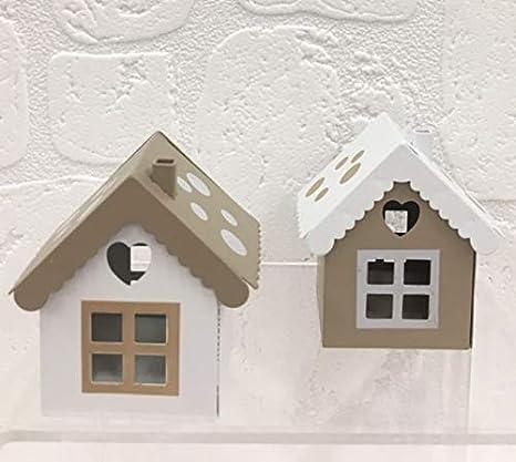 Linterna casa caseta estaño bolsas para peladillas un pois tórtola y blanca: Amazon.es: Juguetes y juegos