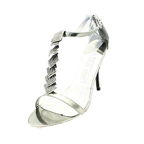 Ladies Diamante Party Shoes/Sandals Pewter