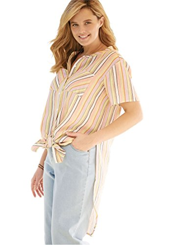 Women's Plus Size Long Tie-Front Shirt Soft Peach (Mandarin Stripe Tie)