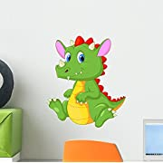 Wallmonkeys Cute Baby Dragon Cartoon Wall Mural by Peel and Stick Graphic (12 in H x 10 in W) WM187111