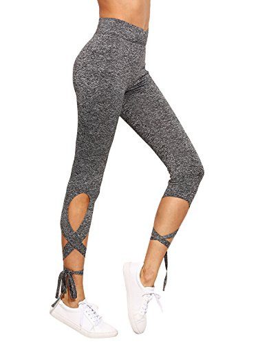 (SweatyRocks Women Legging Cutout Tie Cuff Slim Yoga Pants Jogger Workout Tights Grey)