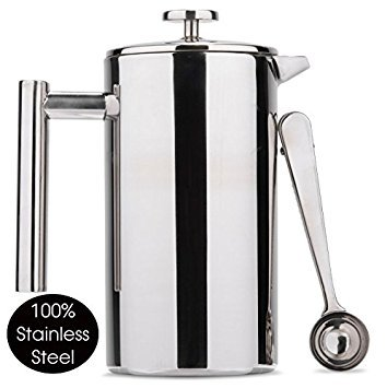 - Es Perto Stainless Steel French Press Coffee Maker | 34 Ounce, Double Wall Insulated, Manual, Portable, Chrome Finish