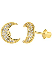 18k Gold Plated Micro Pave Clear Crystal Screw Back Moon Girl Teen Earrings 8mm