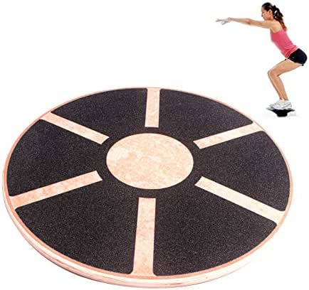 Wooden Balance Board, Wobble Board Training Physio 39.5cm Non-Slip Round Self Fitness Trainer Body Exercise Gym Sports Performance Enhancement Rehabilitation Physical Therapy for Boys Men Women