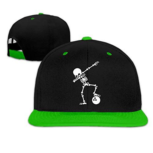 Skeleton Dabbing Bowling Ball Unisex Hip Hop Flat Brim Snapback Caps Women Men Contrast Color Baseball Cap Green