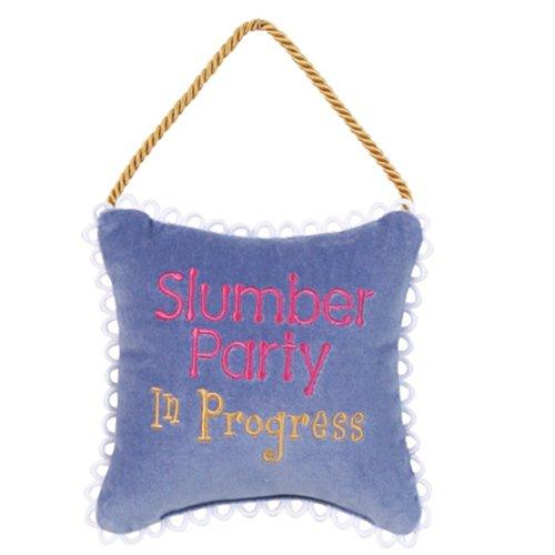 Leyla's Pillows Gift Daughter Slumber Party in Progress Teenage Tween Room Decor Door Hanger, 6'' x 6'', Hyacinth
