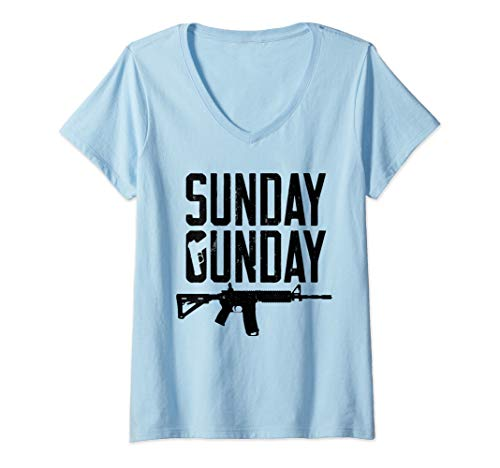 Womens Sunday Gunday Gun Shooting Pistol Firearm AR15 Rifle V-Neck T-Shirt