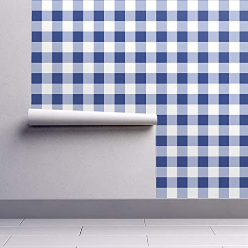 Gingham Wallpaper Roll - Check Blue and White Savoy Cobalt Willow Ware by Peacoquettedesigns - 1 Roll 24in x 27ft