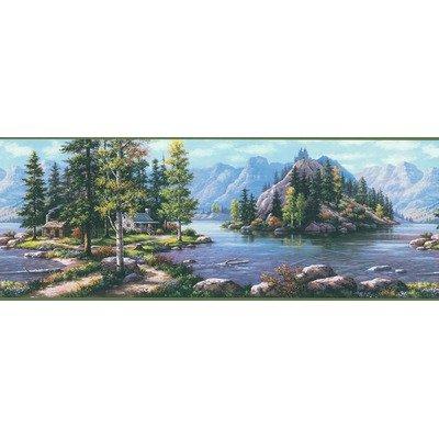 Northwoods Cabin Scenic Mountain Wilderness Wall Border