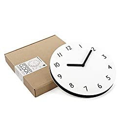thehaki Sandwich Clock 11 Neutral Color Silent Quartz Non-Ticking Simple Light Paper Wall Clock (280N, Ivory)