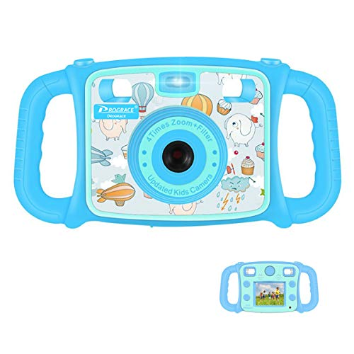 "Prograce Kids Camera Creative Camera 1080P HD Video Recorder Digital Action Camera Camcorder for Boys Girls Gifts 2.0"" LCD Screen with 4X Digital Zoom and Funny Game(Blue) by PROGRACE"