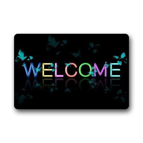 WORLDWOOD Indoor/Outdoor Doormat Door Mats - Paws at Peace Love Heart Dog Paw Print Bravo Wood Pattern Gift Design 15.7x23.6 inch/60x40cm]()