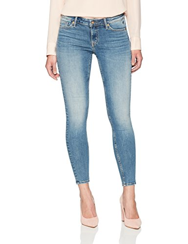 Denim Bloom Women's Low Rise Light Blue Super Skinny Power Stretch Jeans in Premium Denim
