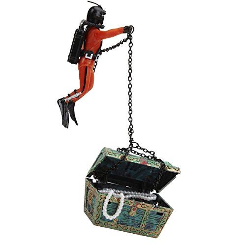 Saim Treasure Chest & Diver Live-Action Aerating Aquarium Ornament