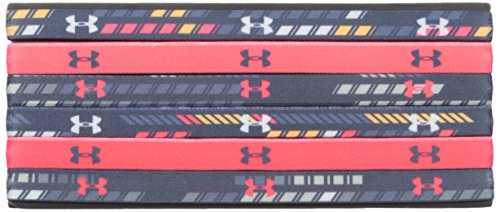 Under Armour Girls' Graphic Headbands - 6 Pack, Apollo Gray /Marathon Red, One Size Fits All by Under Armour (Image #1)