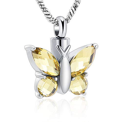 Butterfly Cremation Urn Necklace for Ashes Keepsake Memorial Jewelry Stainless Steel Ashes Keepsake Holder Cremation Jewelry (Yellow)