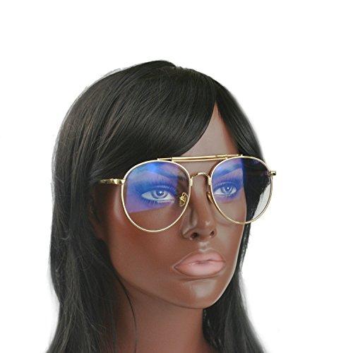 MINCL/Women's and Men's Double Metal Bridge Pilot style Aviator Sunglasses round Clear glasses (gold, - Aviators Transparent