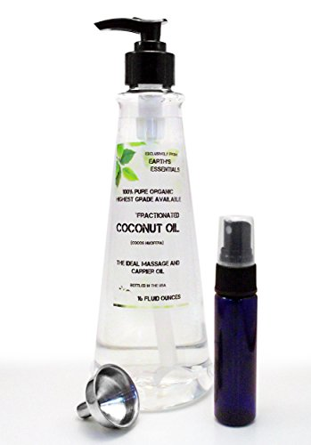 Organic Fractionated Coconut Oil-Earth's Essentials Exclusive Amazon Bundle-Organic Fractionated Coconut Oil-16 Oz. Pump Bottle-USP Food Grade-Bundled With 1 Oz. Purse Size Mister Bottle And Stainless Steel Mini Funnel