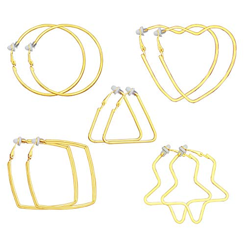 XGALA 5 Pairs Gold Tone round/triangle/four corners/pentagon/Heart shape Clip On Hoop Earrings For Women Non-Pierced