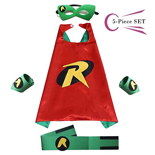 Superhero Dress Capes Set for Kids - Child DIY Superhero Themed Birthday Halloween Party Dress up 5-Pack Set (Robin)