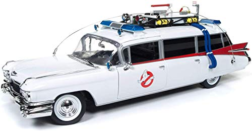 Auto World - Ghostbusters Ecto-1 - 1959 Cadillac Ambulance - 1/21 Scale Die Cast Collectible Model Vehicle for Kids and Adults