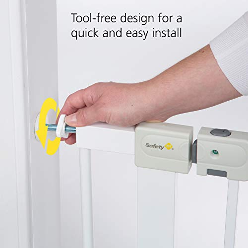 41ktPiyOzNL Safety 1st Easy Install Auto-Close Baby Gate with Pressure Mount Fastening, White    Create child-friendly spaces in your home or on-the-go with the Safety 1st Easy Install Auto-Close Baby Gate with Pressure Mount Fastening. This sturdy baby gate can be opened with one hand and adjusted to fit doorways and openings ranging from 29 to 38 inches wide. Pressure-mounted installation requires no tools, drilling, or hardware and allows for setting up this baby gate quickly and easily in doors or pass-through areas. A magnetic latch causes the baby gate to close and lock automatically, and the SecureTech indicator tells you at a glance that the gate is secure. Easily create a safe space for children in your home or when visiting family and friends by using this 28-inch-high adjustable baby gate in doorways, hallways, staircases, and more. Includes one pressure-mounted baby gate. JPMA-certified baby gate meets ASTM standards for safety and includes a one-year limited warranty. Safety 1st believes parenting should have fewer worries and more joyful moments. As the first and only leader in child safety, Safety 1st is here to give you peace of mind so you can spend less time worrying and more time enjoying every first you experience with your child. To clean, wipe with a damp cloth and dry.