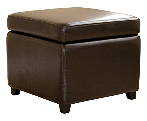 (Wholesale Interiors Full Leather Ottoman, Dark Brown)
