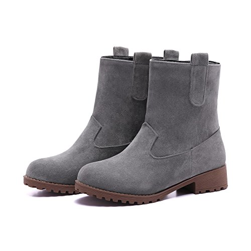 Allhqfashion Women's Imitated Suede Low-Top Solid Pull-On Low-Heels Boots Gray Gu0bKPNul