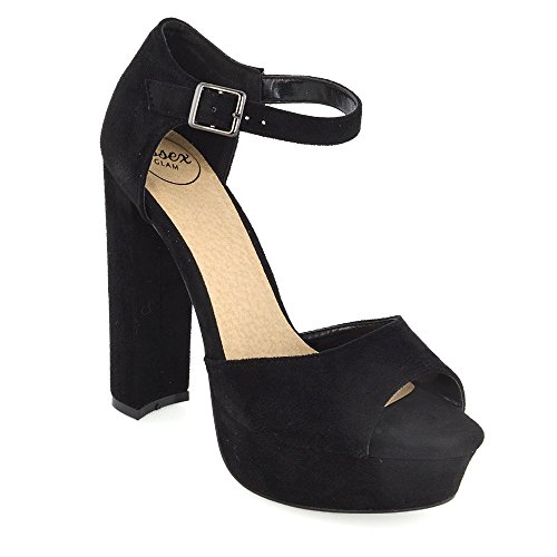 Essex Glam Womens Peep Toe Ankle Strap Block Heel Party Sandals Black Faux Suede sGy7G